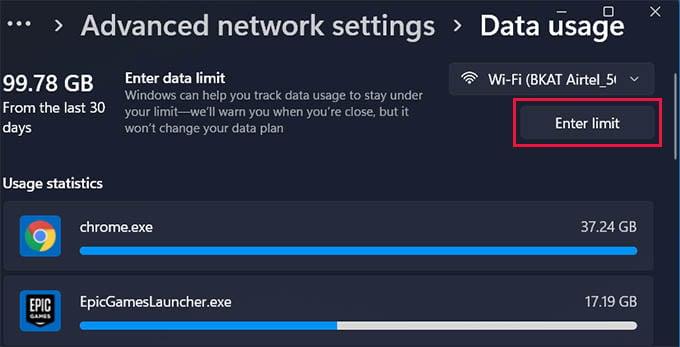 Enter Data Limit in Windows 11