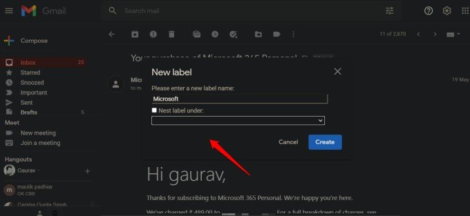 creating nested labels in gmail