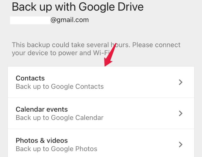 GDrive backup data settings
