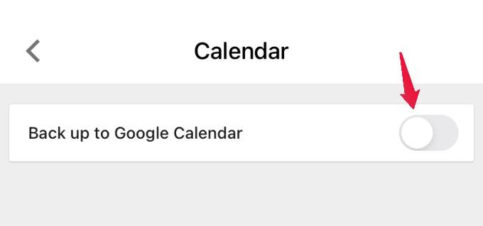 GDrive disable backup for calendar