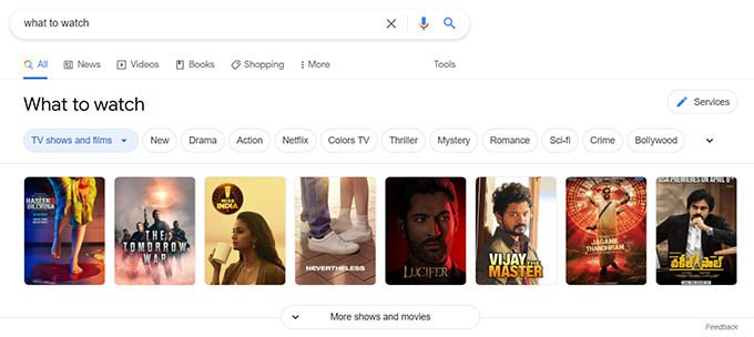 Google Movie Suggestions on Searching What to Watch