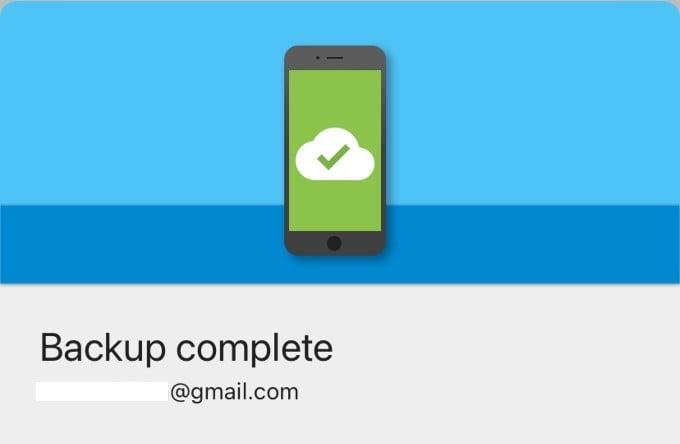 Grive backup success screen