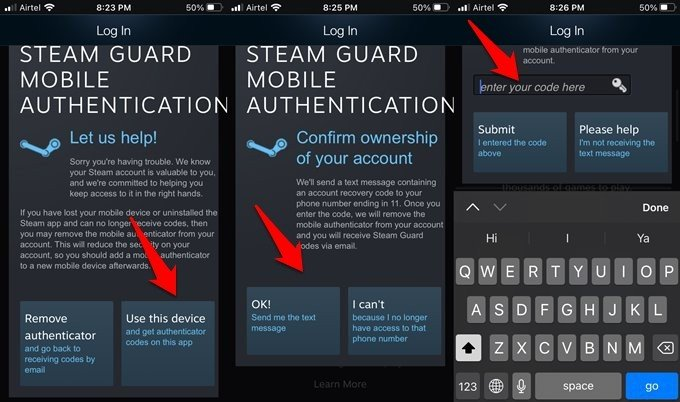 steam authentication codes transferred to new device