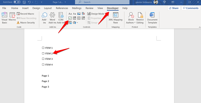 add checkboxes in word 365