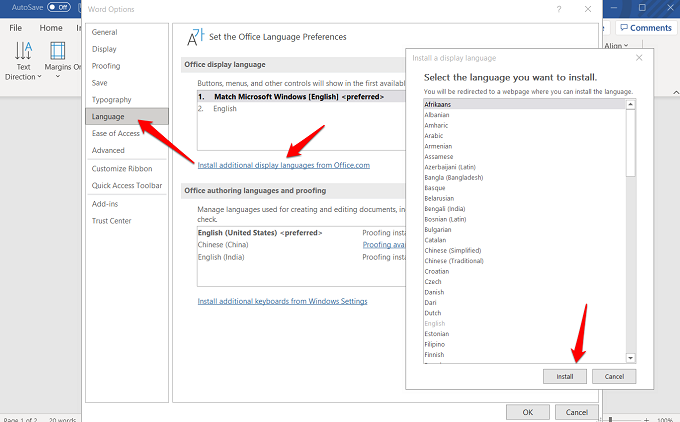 installing new languages in word 365