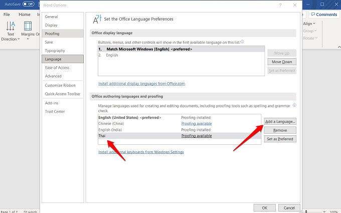 adding an authoring and proofing language in word 365