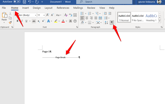 show page breaks in word 365
