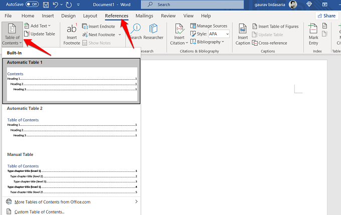 creating a table of contents in word 365