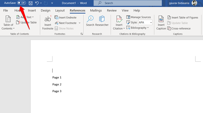 enable auto-save in word 365
