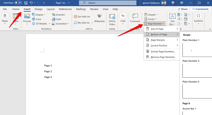 adding page numbers in word 365