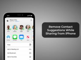 Remove Contact Suggestions While Sharing from iPhone