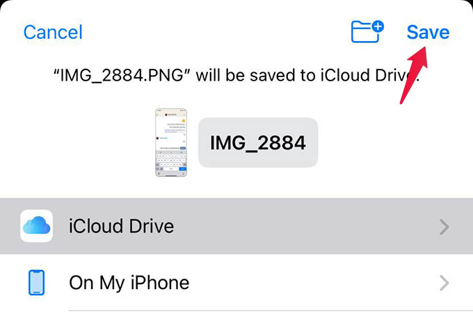 Save Photo to iCloud Drive on iPhone