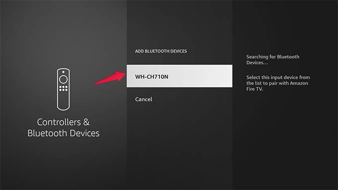 Select Bluetooth Headset on Amazon Fire TV