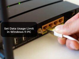 Set Data Usage Limit in Windows 11 PC