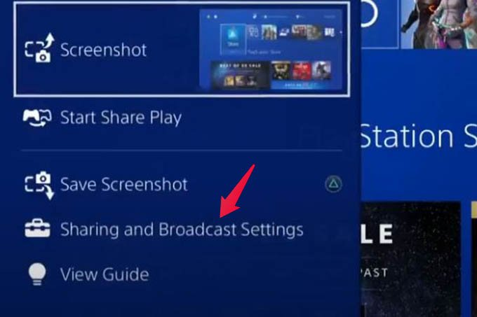 Sharing and Broadcast Settings in PS4