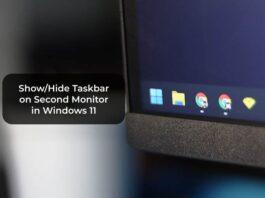 Show/Hide Taskbar on Second Monitor in Windows 11