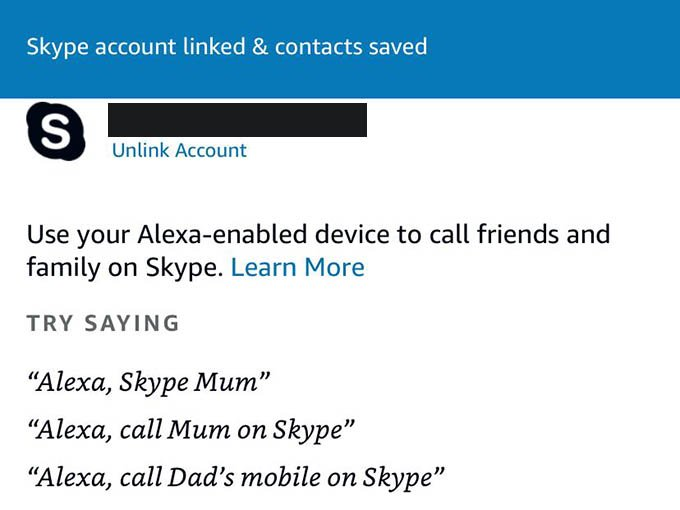 Skype Account Linked on Amazon Alexa App
