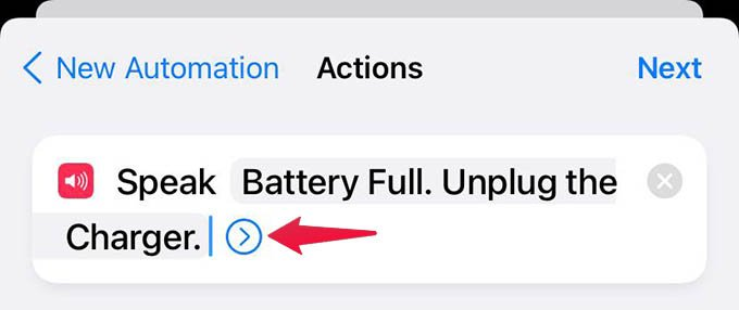 Speak Text Shortcut Action Options