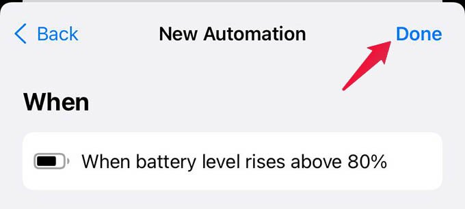 Tap Done and Save Automation on iPhone