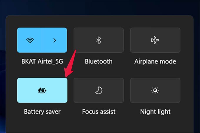 Turn on Battery Saver Mode in Windows 11