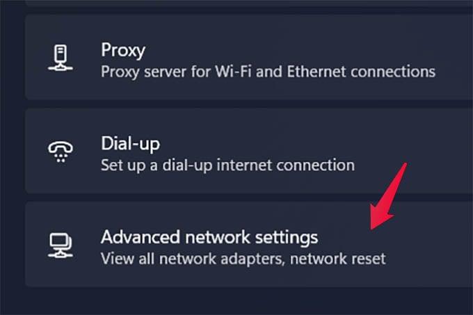 Windows 11 Advanced network Settings