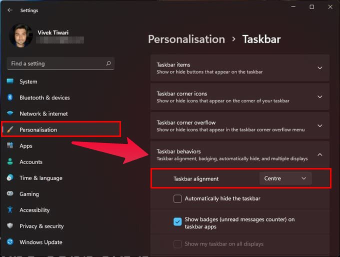 How To Move Windows 11 Taskbar Icons To Left or Center