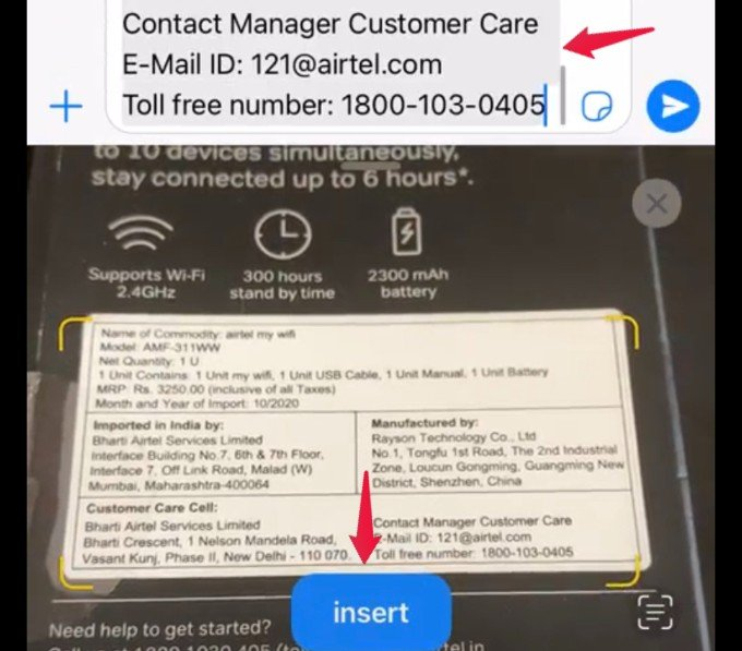 add text from camera in whatsapp