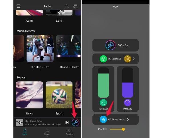 boom app music playback settings