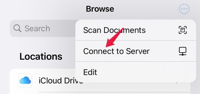 files app server connection settings