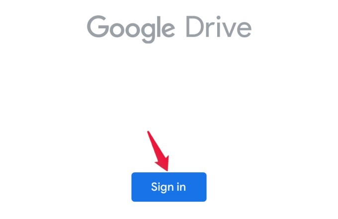 google drive app signin option