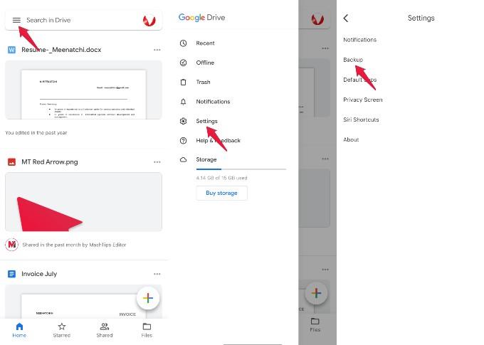 google drive backup option iphone