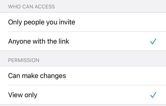 iCloud File Sharing Permissions