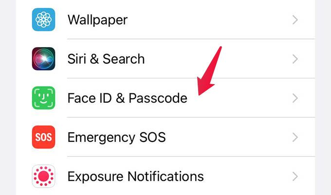 iPhone FaceID & Passcode Settings