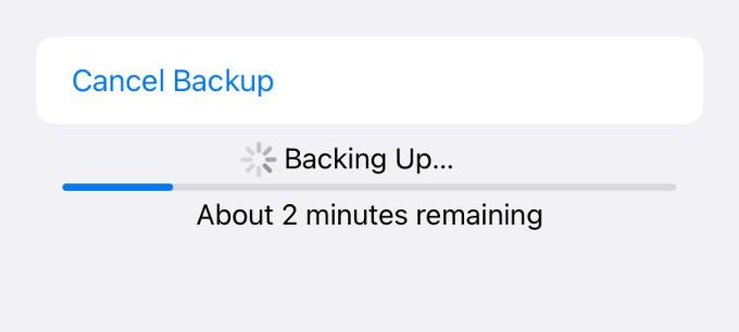 icloud backup progress screen