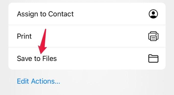 save files option iphone