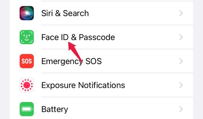 settings menu face id and passcode
