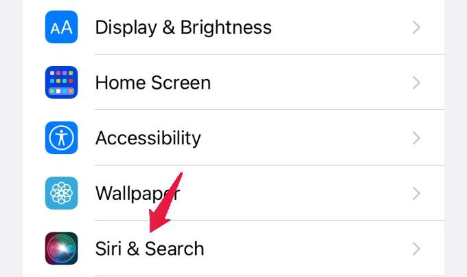 settings menu siri and search