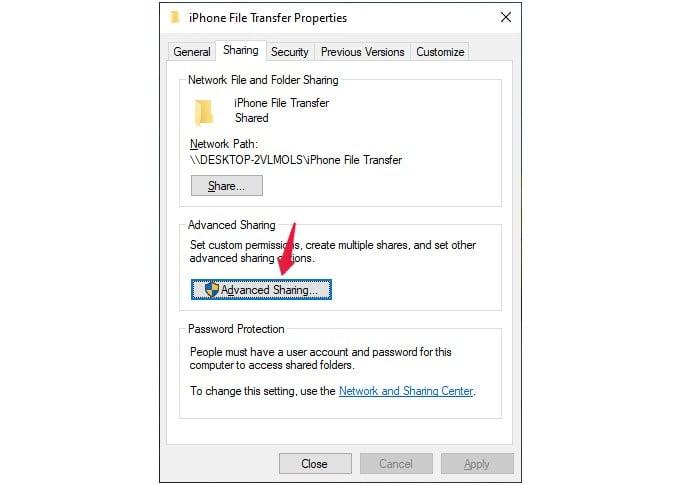 sharing tab options of windows folder
