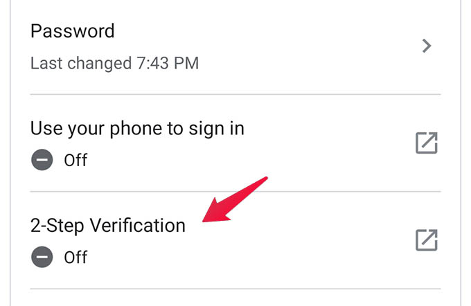 2 Step Verification in Google Account