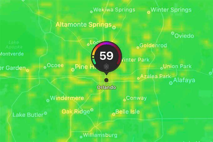 Air Quality Index Weather Map on iPhone