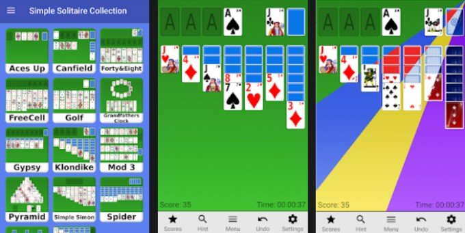 simple solitaire collection on android phones