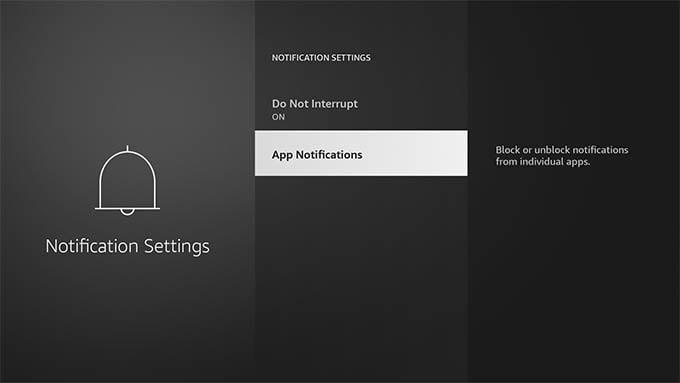 App Notifications Settings in Fire TV