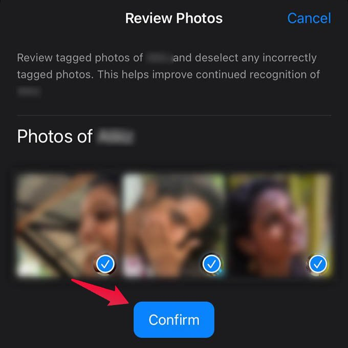 Confirm Photos for People Album on iPhone