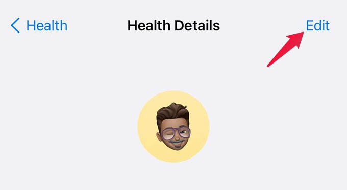 Edit Health Details on iPhone
