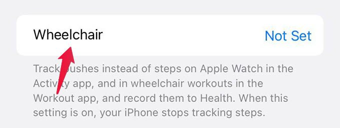 Edit Wheelchair Settings on iPhone Health