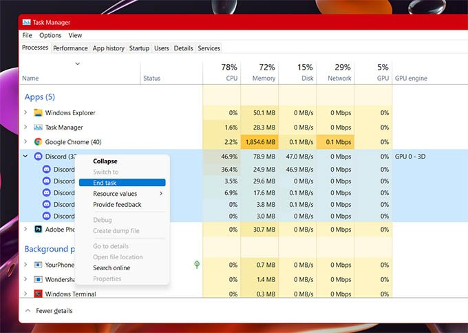 End Discord Task from Task Manager in Windows