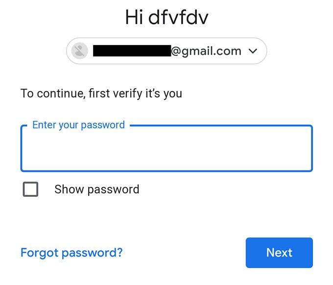 Enter Password to Verify Google Account