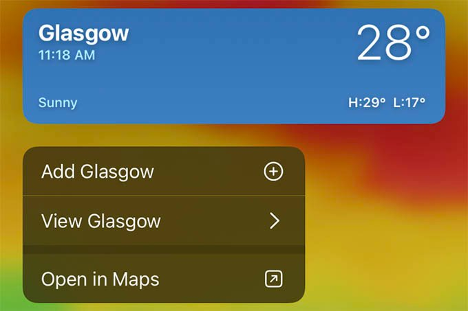 Find Other Place Weather from Weather Map on iPhone