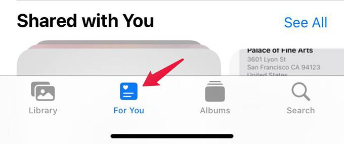 For You Tab in iPhone Photos App