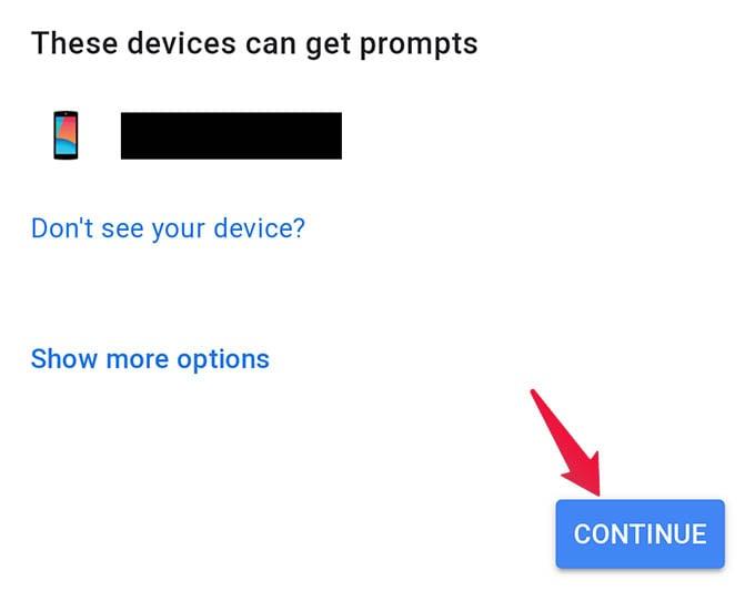 Get Google 2 Step Verification Prompt Device